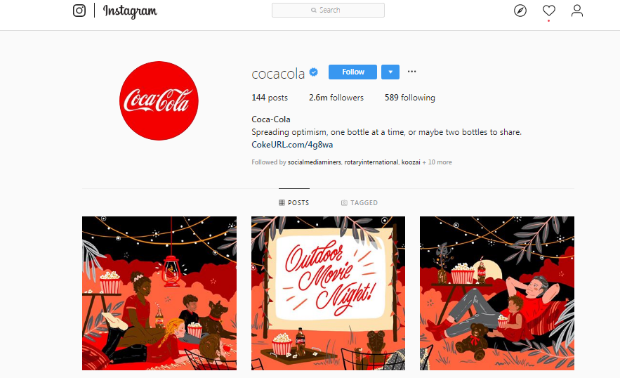 cocacola Instagram account